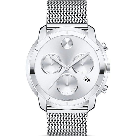 Movado BOLD Stainless Steel Mesh Bracelet Chronograph, 44mm
