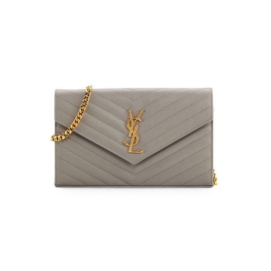 Saint-Laurent-Monogram-Matelassé-Leather-Wallet-on-Chain